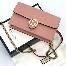 NIB GUCCI Wallet On Chain Interlocking GG Crossbody Bag Clutch Pink 510314 Auth