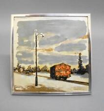 Vintage Italian Miniature Railway Painting on Silver canvas & Silver Frame