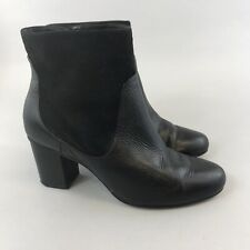 Clarks Somerset 39 US8 UK5.5 D Black Leather Ankle Zip Up Heeled Booties Boots