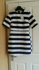 Top shop White and navey blue stripe dress.   Size 10 uk.