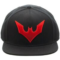DC COMICS BATMAN BEYOND RED LOGO SOLID BLACK ADJUSTABLE SNAPBACK HAT CAP RETRO