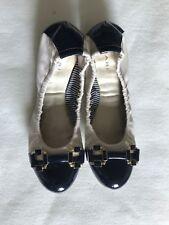 TAHARI Gloria Flat Women Shoes Ballet Ivory Navy Patent Embellish Size 6 M