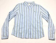 Lacoste Live Mens Shirt Stripe Sz 44 Alligator Long Sleeve Blue Yellow Button Up