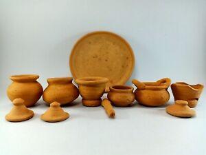 Antique Kitchen Utensil Set Thai Storage Earthenware Hand Carve Miniature Potter