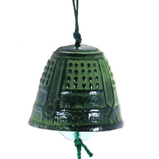 "Japanese 1.75""D Wind Chimes Furin Nambu Cast Iron Green Temple Bell/ Made Japan"