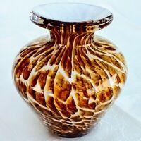 "Vintage Free Flow Swirl Glass Brown White Vase Hand Blown Murano Style 4"""