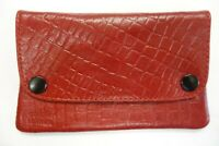 Leather Tobacco Pouch Organizer with Space for Money and Change Red with Pattern