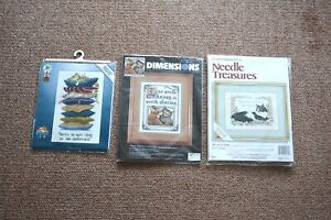 3 New vintage Counted Cross Stitch Kits Cat with mottos various brands