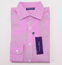 NWT $465 RALPH LAUREN PURPLE LABEL Pink Stripe 'Aston' Dress Shirt 15 x 35