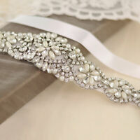 Crystal Vintage NEW Bridal Sash Rhinestone Pearl Beaded Wedding Dress Belt EA7X