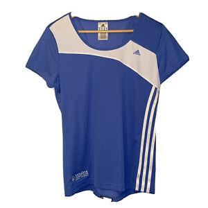 adidas Womens Sz L Wailea Tennis Club Maui Embroidered Blue White Athletic Top