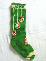 Old Neat Vintage Handmade Crochet Christmas Stocking w Bells & Sparkles JOHN