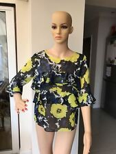 MISS SIXTY FLORAL TOP BLOUSE BLUE YELLOW GREEN