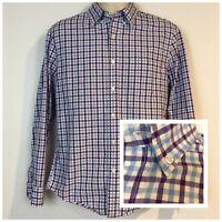 J Crew Mens M Slim Fit Shirt Purple Blue Plaid Cotton Button Long Sleeve Pocket