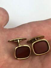 Vintage Cufflinks Signed Am.D RJ Red Carnelian Glass Stones