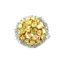 3.02ct Natural Fancy Intense Yellow Diamonds Engagement Ring 18K Solid Gold 9G