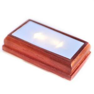 Dolls House Rectangular Flush Ceiling Light Walnut Wood LED Battery Lighting