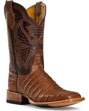 LADIES CINCH EXOTIC CAIMAN COWBOY BOOTS 8B NEW BROWN TAN SQ TOE CFW151 WESTERN