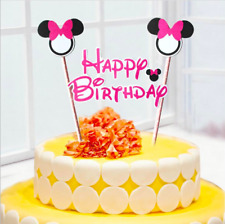 2pcs Mickey Minnie Mouse Cake Topper Cupcake Birthday Topper Flag Party Supplies