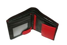 Trifold Mens Geniune leather wallet red and black, new