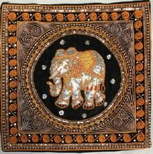 Pair of Hand made Kalaga Tapestry Cushion Cover Black 44cm size from Thailand