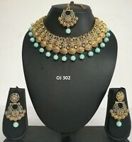 Indian Fashion Pearl Jewelry Bollywood Wedding Bridal Necklace Earrings Sets 302