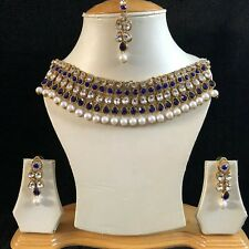 BLUE GOLD KUNDAN INDIAN COSTUME JEWELLERY NECKLACE EARRINGS CRYSTAL SET NEW 256