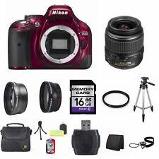 Nikon D5200 SLR Camera - Red w/18-55mm Lens 16GB Full Kit