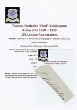 Fred biddlestone aston villa 1930-1939 très rare original signé coupe/carte