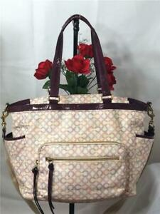 COACH Opt Art CC Pink & Purple White Coated Canvas Diaper Baby Bag #15999