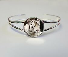 Bengal Tiger Silver Plated Ladies Jewellery Bracelet Bangle Birthday Gift L280