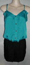 Express Dressy Teal Black ruffle shorts romper jumpsuit button down 1pc Size M