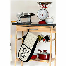Kitchen Trolley Worktop Island Cart Granite Top Chopping Board, Wine Rack, Shelf