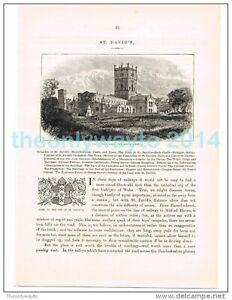 ST DAVIDS FROM THE SOUTH WEST, WALES, BOOK ILLUSTRATION (PRINT), 1882