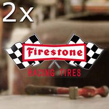 2x pezzi FIRESTONE Adesivi Sticker autocollante Hot Rod Old School Style 80mm
