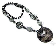 Bettelkette Perlen Crack Glitzer Wellen Kreis XXL Blogger Anhänger Halskette