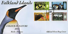Falkland Islands 2014 FDC Colour in Nature III Birds Flowers 4v St Cover Penguin