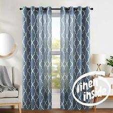 """Blue Moroccan Tile Print Quatrefoil Linen Blend Curtain Panels 108"""" x 50""""- Pair"""