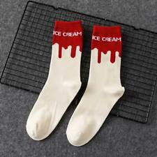 Ice Cream Patterned Skateboarding Socks - White with Red