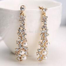 Lungo Donna Orecchini A Farfalla con perle & Strass Colori dorati 11009