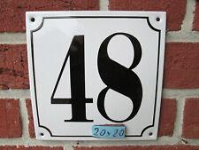 Hausnummer Mega Groß  Emaille Nr 48 schwarze Zahl weißer Hintergrund 20cmx20 cm