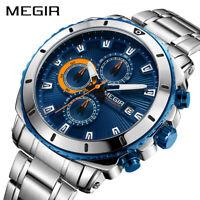 MEGIR Chronograph Men Quartz Watch Stainless Steel Business Wrist Watches