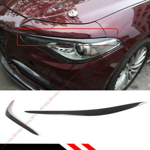 FOR 2016-18 ALFA ROMEO GIULIA REAL CARBON FIBER HEADLIGHT EYELID COVER EYEBROW
