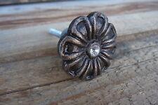 CHOOSE Qty =Antique Bronze Metal FLOWER with Rhinestone Center Knob= Drawer Pull