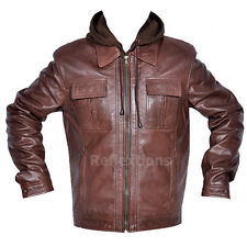 Leather Hood Jacket Mens Fashion Trendy Removable Hood Soft Winter Lamb Jacket