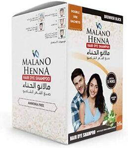 Malano Henna black Hair Dye Shampoo Double Use Sachets 2×15ml FREE SHIPPING