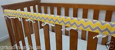 Cot Rail Cover Grey Yellow Chevron Crib Teething Pad x 1