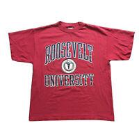 VTG 90s Roosevelt University T-Shirt Mens Large College Spell Out Crew Neck 80s