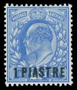 British Levant 1906 KEVII 1pi on 2½d ultramarine MLH. SG 13. Sc 13.