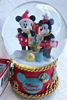 Disney MICKEY AND MINNIE MOUSE MUSICAL SNOW GLOBE Merry CHRISTMAS collectible